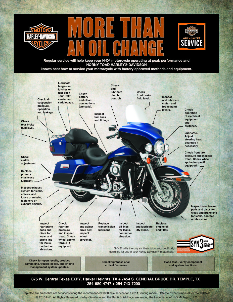 Regular service will help keep your H-D motorcycle operating at peak performance