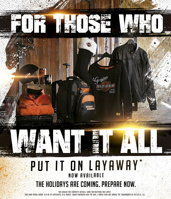 Layaway available at Horny Toad H-D